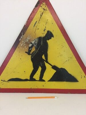 "Vintage Metal Road Sign Made in Poland ""Roadworks"" Industrial Sign Man at Work"
