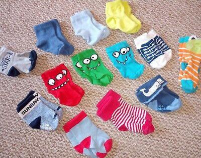 Baby Boy sock bundle 13 pairs Baby Boy Red Blue Green GAP F&F Asda etc