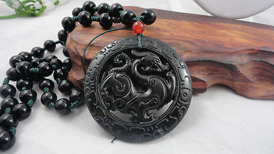 Chinese Hotan jade Fine Hand Carved Dragon Pendant Dragon Necklace