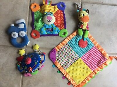 Lot Of 4 Infant Toys, Nuby Infantino Baby Teething Soft Fabric Boys Girls