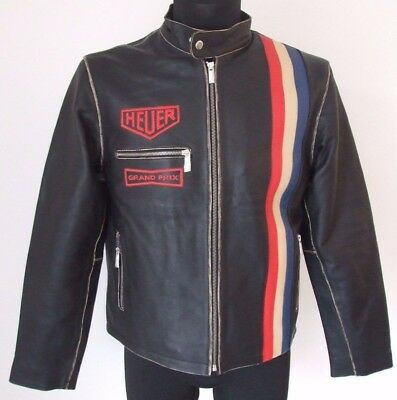 Steve McQueen Le Mans Driver Heuer Grandprix Distressed Black Leather Jacket