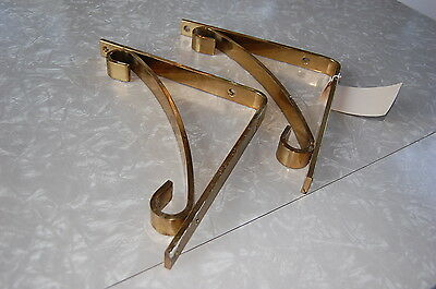 A Pair of Antique Vintage Heavy Solid Brass Shelf Holders Brackets