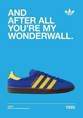 Adidas  Casuals Trainers Oasis Wonderwall A4 260gsm Poster