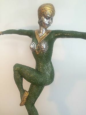 Art Deco Silvered Bronze Exotic Dancer Statue On Marble Base After Chiparus