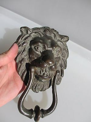 Vintage Brass Lion Head Door Knocker Lions Architectural Antique Old