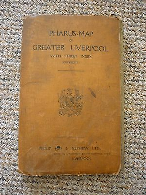 Antique Pharus Map of Greater Liverpool Leather Bound Linen Map c1890 Huge!