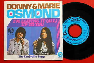 """Donny & Marie Osmond I'M Leaving It(All) Up To You 1974 Rare Exyu 7"""" Ps Nmint"""