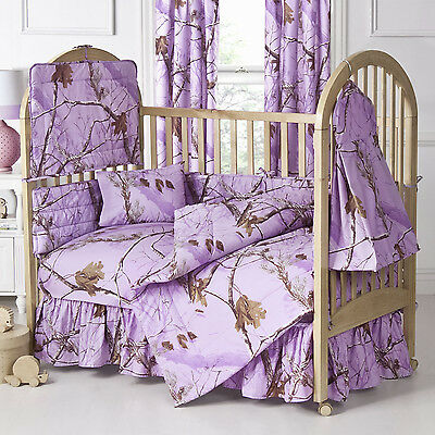 Realtree Ap Lavender Purple Camouflage Baby Crib Skirt - Dust Ruffle