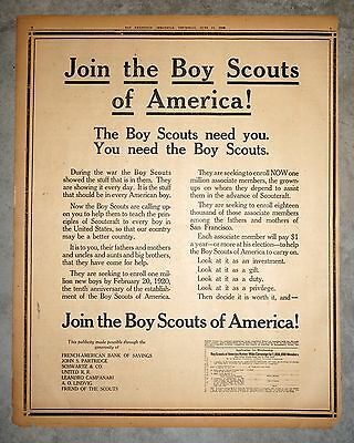 Rare 1919 San Francisco Newspaper Full Page Post WWI Boy Scouts Recruiting Ad