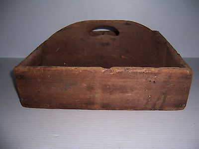 Antique Primitive Wooden Utensil Tool Box Carrier Tote