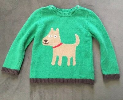 EUC Baby Boden Green sweater with dog Sz 2-3 ADORABLE!