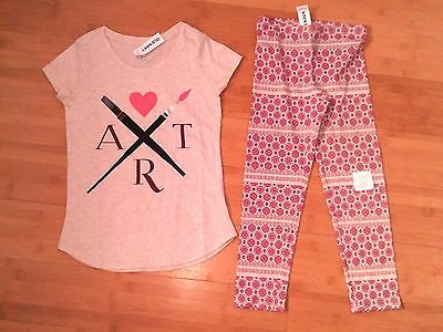 NWT OLD NAVY Girls Size M 8 Art Outfit - Tee Top & Print Leggings NEW