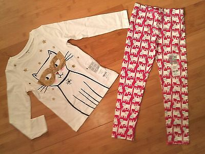 NWT CARTER'S Girls Size 6 Cat Outfit - LS Tee Top & Print Leggings NEW