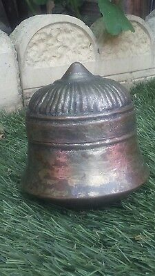 very old indian islamic dome mosque shape pot guilded copper