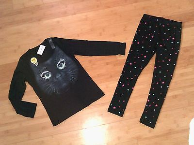NWT Girls Size L 10 - 12 Halloween Cat Outfit - Tee Top & Leggings NEW