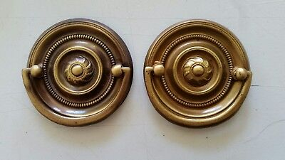 Pair Round   Decorative  Old,solid Brass Drawer Pulls Handles Dresser (421)