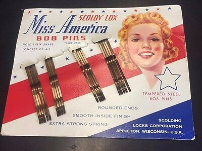 Vintage Card Of 18 Miss American Scoldy Lox Bob Bobby Pins