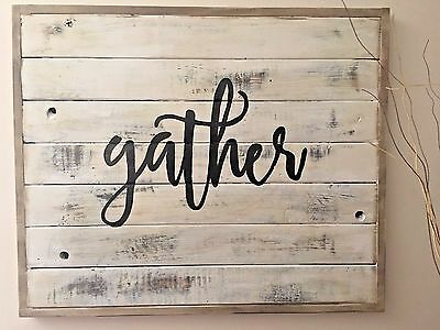 Large Rustic GATHER Wood Framed gray/White Wood Sign handmade, distressed