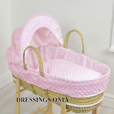 New 4Baby Pink Dimple Palm Baby Girls Moses Basket Dressings Extra Basket Covers