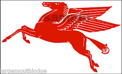 "New Peel And Stick Mobil Gas Oil Decal 5""  Pegasus Horse"
