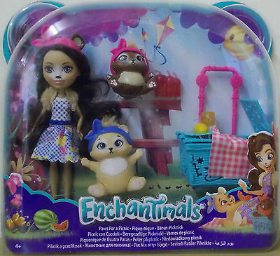 Enchantimals ~ Paws For A Picnic Set ~ Inc Bren Bear Doll & 2 Bear Pets