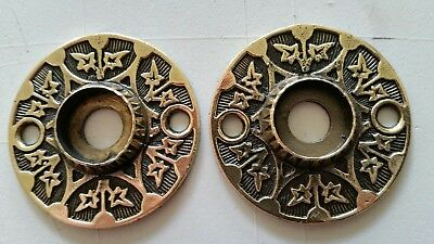 PAIR Antique Victorian SOLID Brass Door Knob Backplates  RESTORED (428B)