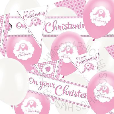 Girls Christening Banner Bunting Balloons Baby Pink White Party Decorations Pack