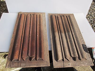 Victorian Wooden Panels Plaques Carved Wood Architectural Antique Scroll Pair