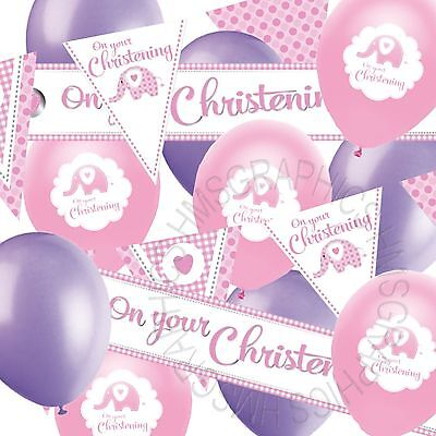 Girls Christening Banner Bunting Balloons Baby Pink Lilac Party Decorations Pack
