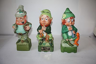 3 Empty Hoffman Music Box Decanter MR. CHARMER, MR SAXOPHONIST, MR LUCKY EUC