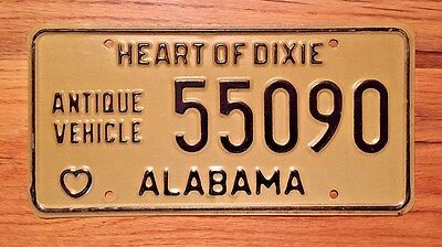 Vintage Heart Of Dixie Alabama Antique Vehicle License Plate/old Tag