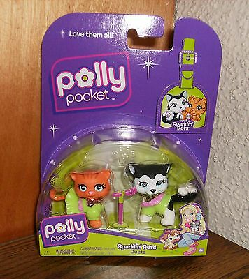 New Sealed 2007 Polly Pocket Siberian Husky Dog & Cat Sparklin' Pets Figures