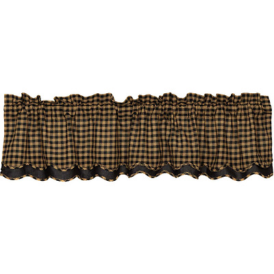 New Primitive Rustic Homespun TAN & BLACK CHECKED Layered Curtain Valance Lined