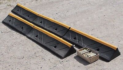 Rubber Speed Bumps 1 m lengths x 5 Lot with Raw Bolts Heavy Duty