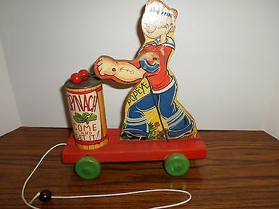 Vintage rare Fisher-Price Wood-Figures Popeye spinach eater, pull toy 1939 #488