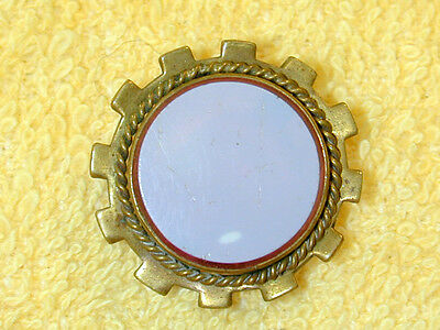 Antique Vintage Stud Collar Button Metal w Layered Glass