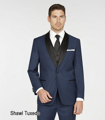 French Blue Tuxedo with black shawl colar by Giorgio Fiorelli with black vest