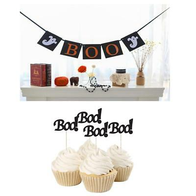 Halloween BOO Ghost Banner Bunting + 20pcs BOO Cupcake Picks Party