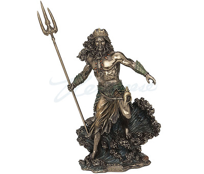 Large Poseidon Greek God of the Sea Nautical Statue Sculpture Figurine
