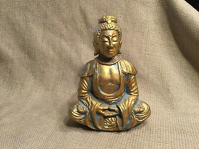 "Ceramic Sitting Buddha Figurine ~ 6"" ~ Gold Paint"