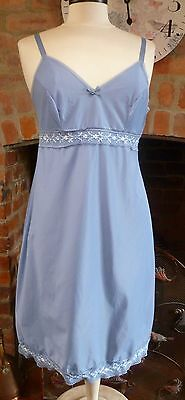Vintage 1960S Ultra Femme Blue Nylon Full Slip White Lace Trim Hem + Bust Sz14