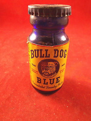 Bull Dog Blue Antique Laundry Bluing In Glass Jar