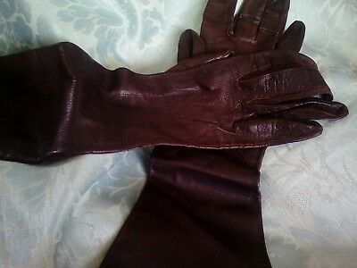 vintage Kid Skin Leather Brown gloves