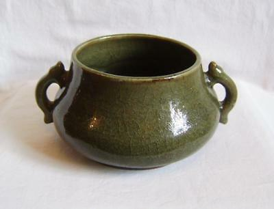 Antique Chinese Celadon Glazed Vase  / Bowl with two handles , 20 x 9 cm
