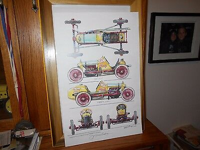 RACE CAR COLLECTIBLE ART WORK DRAWING by Mr JOE  HENNING
