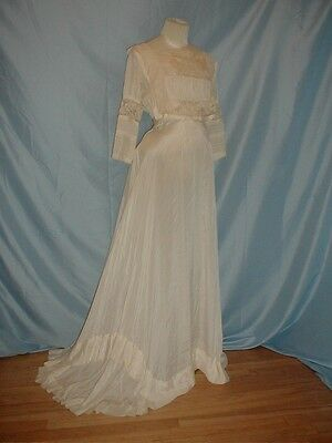 Antique Dress 1912 Edwardian Ivory Silk and Lace Wedding Gown
