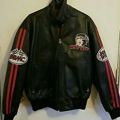Betty Boop Black Genuine Leather Motorcycle Jacket
