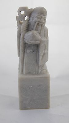Vintage Chinese Ston Carved Statue Chop Seal Immortal with Staff - tj#325