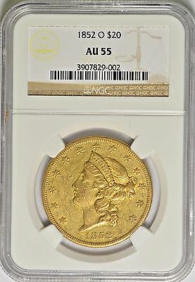 1852-O New Orleans $20 Gold Ngc Au55