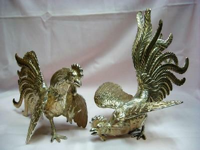 Pair Large Sterling Silver Fighting Cocks Roosters Plata 925 Ind. Peruvana